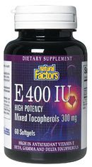 DROPPED: Natural Factors - High Potency Vitamin E 400 IU Mixed Tocopherols 300 Mg - 60 Softgels