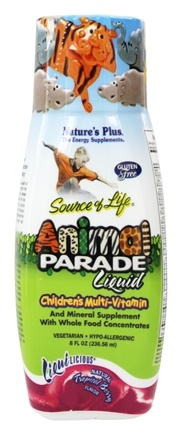 Nature's Plus - Source of Life Animal Parade Liquid Childrens Multi Vitamin & Mineral Tropical Berry - 8 oz.
