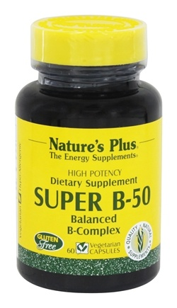 Nature's Plus - Super B50 Balanced B Complex - 60 Vegetarian Capsules
