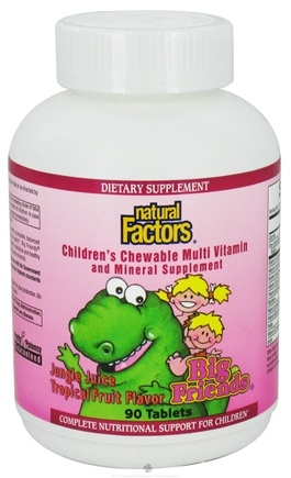 DROPPED: Natural Factors - Big Friends Children's Chewable Multi Vitamin and Mineral Support Tropical Fruit - 90 Tablets CLEARANCE PRICED