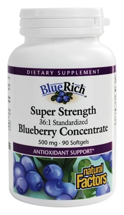 Natural Factors - Blue Rich Super Strength Blueberry Concentrate - 90 Softgels