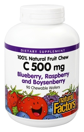 DROPPED: Natural Factors - C 100% Natural Fruit Chews Blueberry, Raspberry and Boysenberry 500 mg. - 90 Chewable Wafers
