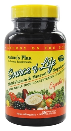 Nature's Plus - Source Of Life Multi-Vitamin & Mineral Supplement With Whole Food Concentrates - 90 Vegetarian Capsules