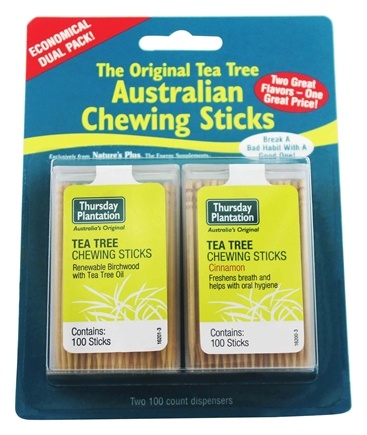DROPPED: Thursday Plantation - The Original Australian Tea Tree Chewing Sticks (Toothpicks) Twin Pack Special Cinnamon Flavor + Original - 200 Stick(s)