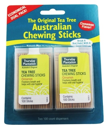 DROPPED: Thursday Plantation - The Original Australian Tea Tree Chewing Sticks (Toothpicks) Twin Pack Special Cinnamon Flavor - 200 Stick(s)