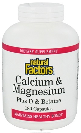 DROPPED: Natural Factors - Calcium & Magnesium Plus D & Betaine - 180 Capsules CLEARANCE PRICED