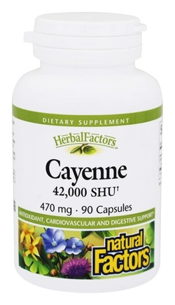 DROPPED: Natural Factors - Cayenne Extract 470 mg. - 90 Capsules