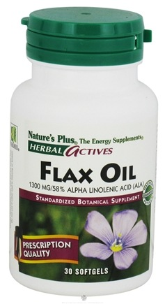 DROPPED: Nature's Plus - Herbal Actives Flax Oil 1300 mg. - 30 Softgels CLEARANCE PRICED