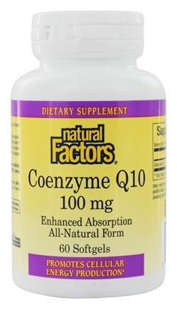 Natural Factors - CoEnzyme Q10 Enhanced Absorption Formula 100 mg. - 60 Softgels