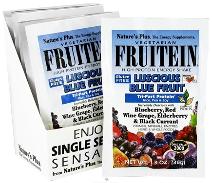 DROPPED: Nature's Plus - Fruitein Shake Packets Luscious Blue Fruit - 1 Packet CLEARANCE PRICED