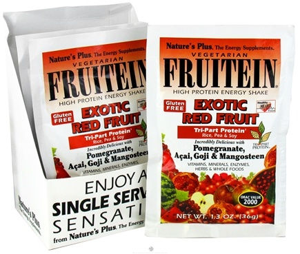 DROPPED: Nature's Plus - Fruitein Vegetarian Shake Exotic Red Fruit - 1 Packet CLEARANCE PRICED