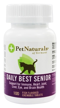 DROPPED: Pet Naturals of Vermont - Daily Best Senior for Cats Fish Flavored - 100 Chewable Tablets formerly Natural Cat Daily Senior