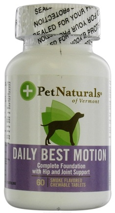 DROPPED: Pet Naturals of Vermont - Natural Dog Daily Motion Tablets Smoke Flavored - 60 Chewable Tablets