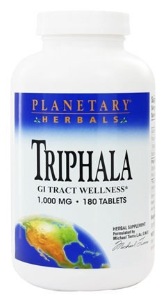 Planetary Herbals - Triphala Traditional Ayurvedic Purifier 1000 mg. - 180 Tablets Formerly Planetary Formulas