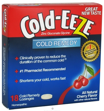 Cold-Eeze - Zinc Gluconate Glycine Cold Remedy All Natural Cherry - 18 Lozenges Formerly by Quigley