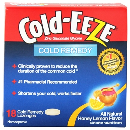Cold-Eeze - Zinc Gluconate Glycine Cold Remedy All Natural Honey Lemon - 18 Lozenges Formerly by Quigley