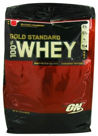 DROPPED: Optimum Nutrition - 100% Whey Gold Standard Protein Delicious Strawberry - 10 lbs. CLEARANCED PRICED