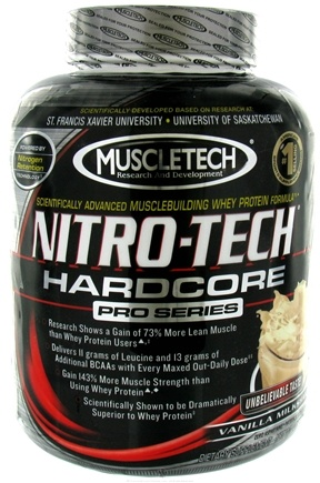 DROPPED: Muscletech Products - Nitro-Tech Hardcore Pro Series Vanilla Milkshake - 4 lbs. CLEARANCE PRICED