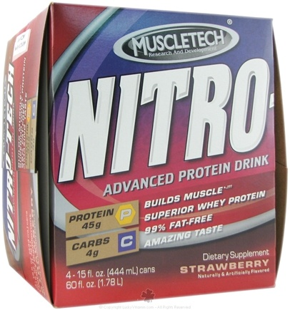 DROPPED: Muscletech Products - Nitro-Tech RTD Strawberry - 4 Can(s)