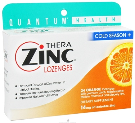 DROPPED: Quantum Health - Thera Zinc Cold Season Plus Lozenges Orange 14 mg. - 24 Lozenges CLEARANCE PRICED