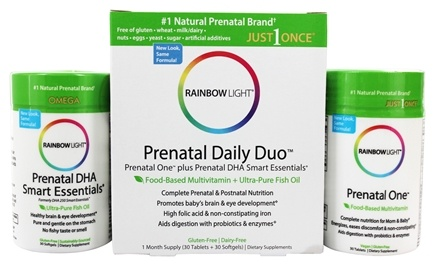 Rainbow Light - Prenatal One Multivitamin 30 Tablets & DHA 250 Smart Essentials 30 Softgels - Complete Prenatal Care Combo Pack