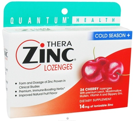 DROPPED: Quantum Health - Thera Zinc Cold Season Plus Lozenges Cherry 14 mg. - 24 Lozenges CLEARANCE PRICED