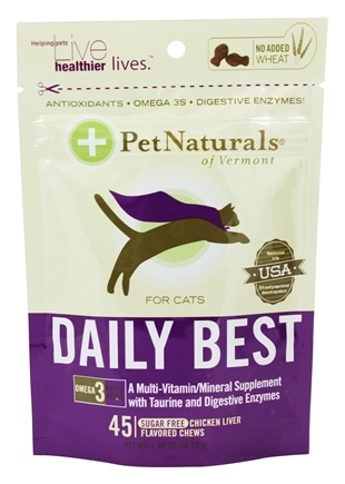 DROPPED: Pet Naturals of Vermont - Daily Best for Cats Soft Chews Chicken Liver Flavored - 45 Chewables