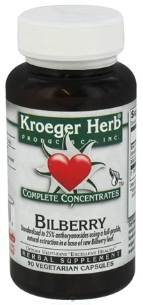 DROPPED: Kroeger Herbs - Complete Concentrates Bilberry 50 mg. - 90 Vegetarian Capsules