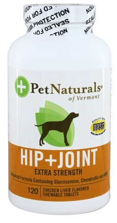 DROPPED: Pet Naturals of Vermont - Hip & Joint Extra Strength For Dogs Chicken Liver Flavored - 120 Chewable Tablets