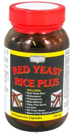 DROPPED: Only Natural - Red Yeast Rice Plus 700 mg. - 60 Vegetarian Capsules CLEARANCE PRICED