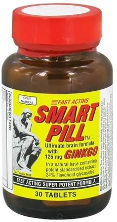 DROPPED: Only Natural - Smart Pill Ultimate Brain Formula with Ginkgo 125 mg. - 30 Tablets CLEARANCE PRICED