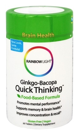 DROPPED: Rainbow Light - Ginkgo-Bacopa Quick Thinking - 60 Tablets