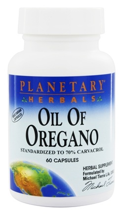 Planetary Herbals - Oil of Oregano (Standardized to 70% Carvacrol) - 60 Vegetarian Capsules Formerly Planetary Formulas