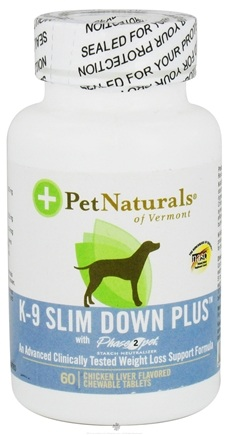 DROPPED: Pet Naturals of Vermont - K-9 Slim Down Plus with Phase 2 Pet Chicken Liver Flavored - 60 Chewable Tablets Contains White Kidney Bean Extract CLEARANCE PRICED