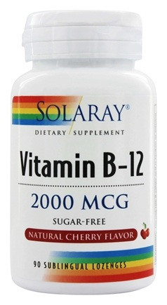 Solaray - Vitamin B-12 Sugar Free Natural Cherry Flavor 2000 mcg. - 90 Lozenges