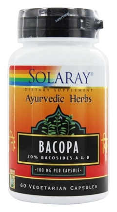 Solaray - Ayurvedic Herbs Bacopa Leaf Extract 100 mg. - 60 Vegetarian Capsules