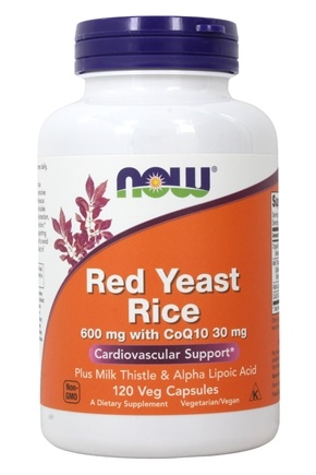 NOW Foods - Red Yeast Rice with CoQ-10 30mg 600 mg. - 120 Vegetarian Capsules