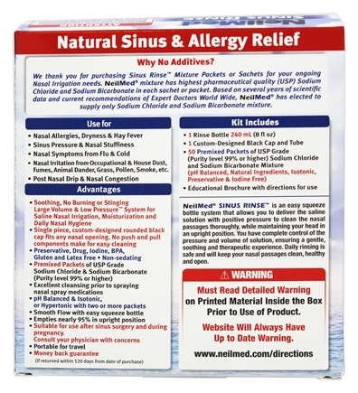 Sinus Rinse All Natural Relief Kit - 50 Premixed Packets by NeilMed  Pharmaceuticals