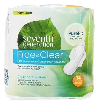 Seventh Generation - Chlorine Free Overnight  Maxi Pads - 14 Count