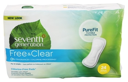 Seventh Generation - Chlorine Free Maxi Pads Regular - 24 Count