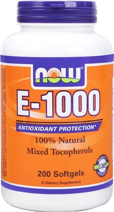DROPPED: NOW Foods - Vitamin E Mixed Tocopherols/Unesterified 1000 IU - 200 Softgels