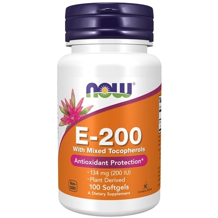 NOW Foods - Vitamin E Mixed Tocopherols/Unesterified 200 IU - 100 Softgels