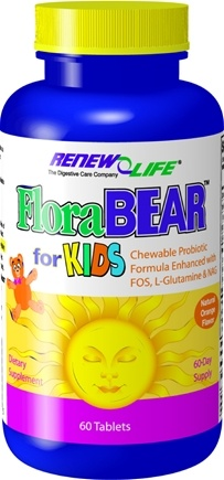 DROPPED: ReNew Life - FloraBear For Kids Orange Flavor - 60 Chewable Tablets