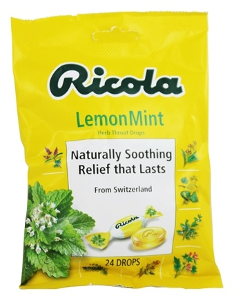 Ricola - Natural Herb Throat Drops Lemon-Mint - 24 Lozenges