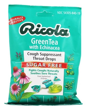 Ricola - Natural Herb Throat Drops Sugar Free Green Tea with Echinacea - 19 Lozenges