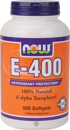 DROPPED: NOW Foods - Vitamin E-, D-Alpha Tocopheryl 400 IU - 500 Softgels CLEARANCE PRICED