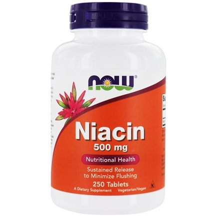 NOW Foods - Niacin Time Release Vegetarian 500 mg. - 250 Tablets