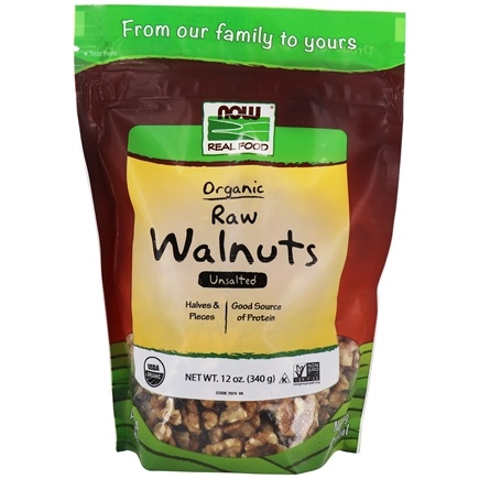 NOW Foods - Certified Organic Walnuts Whole Raw Halves and Pieces Unsalted - 12 oz.