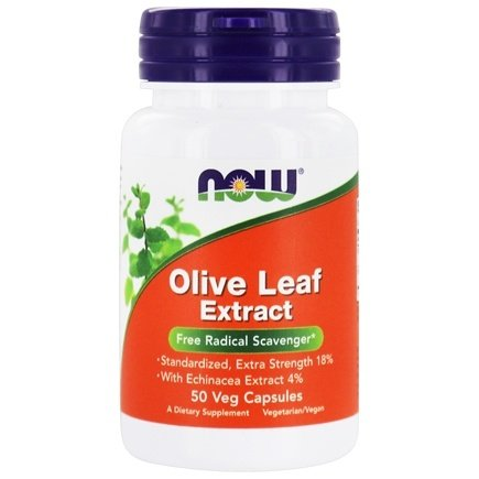 DROPPED: NOW Foods - Olive Leaf Extract with Echinacea Extra Strength, Vegetarian - 50 Vegetarian Capsules CLEARANCE PRICED