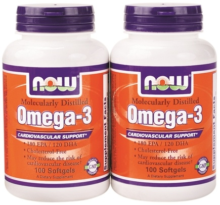 DROPPED: NOW Foods - Omega-3 Molecularly Distilled Cardiovascular Support (100+100) Twin Pack Special - 200 Softgels